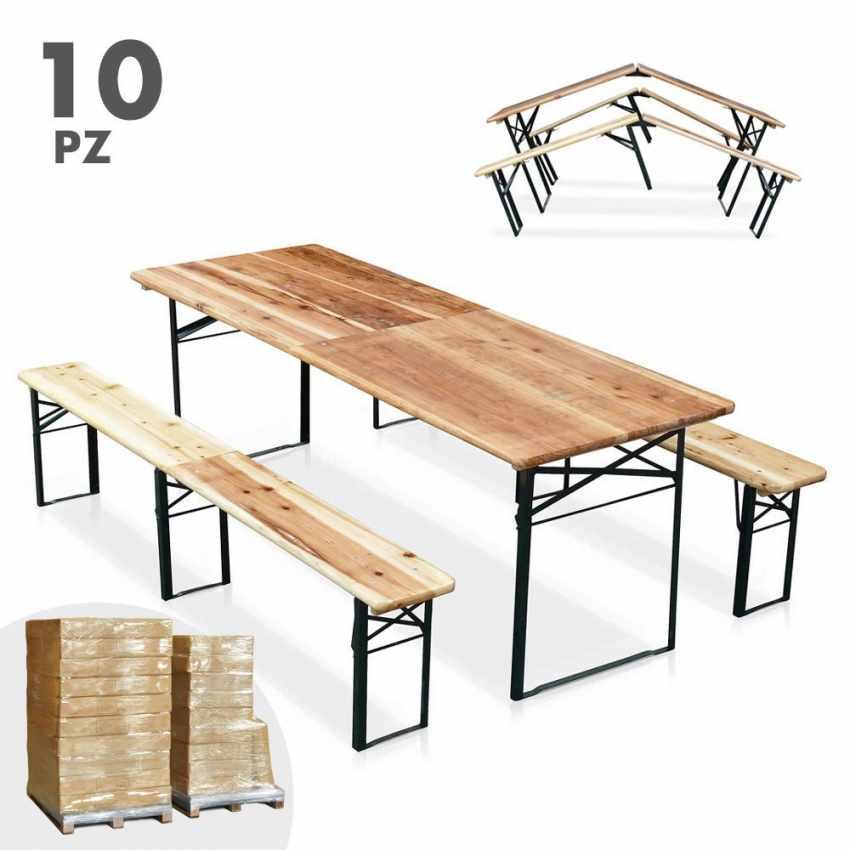 10er set bierzeltgarnitur tisch und bierb nke klappbar holz biergarten festzelt 220x80. Black Bedroom Furniture Sets. Home Design Ideas