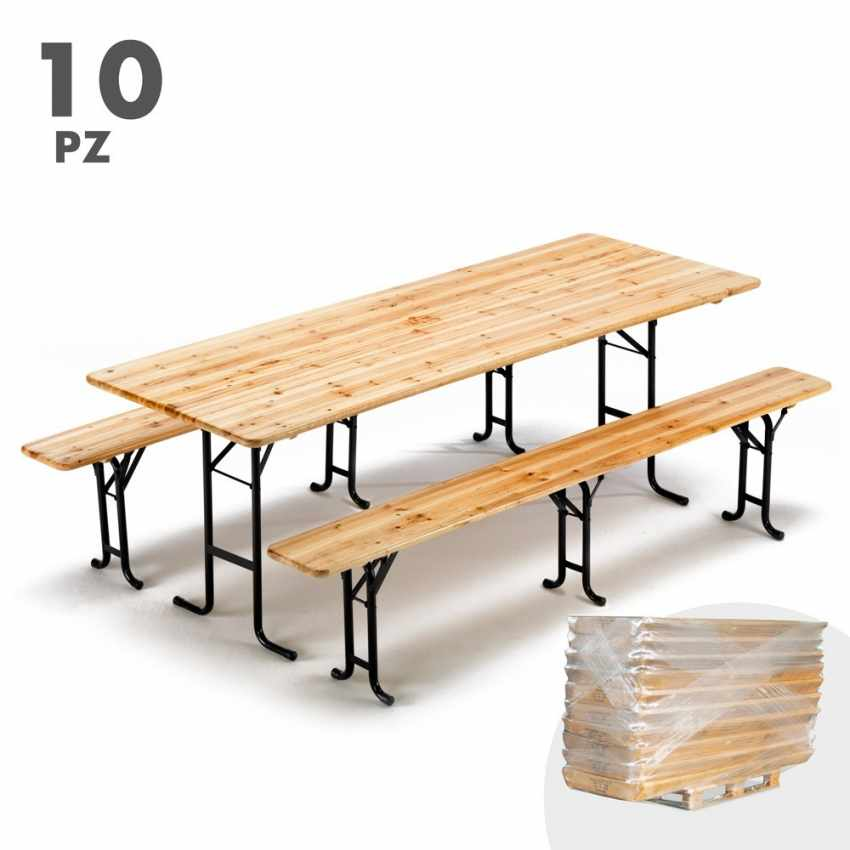 10er set bierzeltgarnitur tisch und bierb nke holz biergarten festzelt 220x80 3 beine. Black Bedroom Furniture Sets. Home Design Ideas