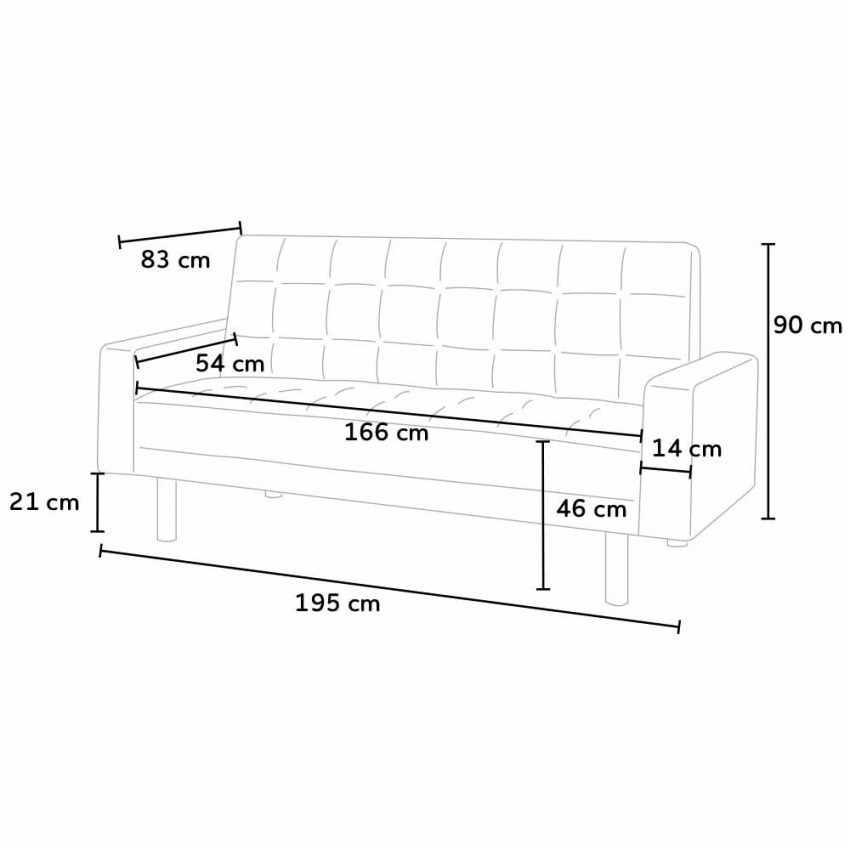 schlafsofa 2 sitzer aus kunstleder mit armlehne und kissen agata. Black Bedroom Furniture Sets. Home Design Ideas