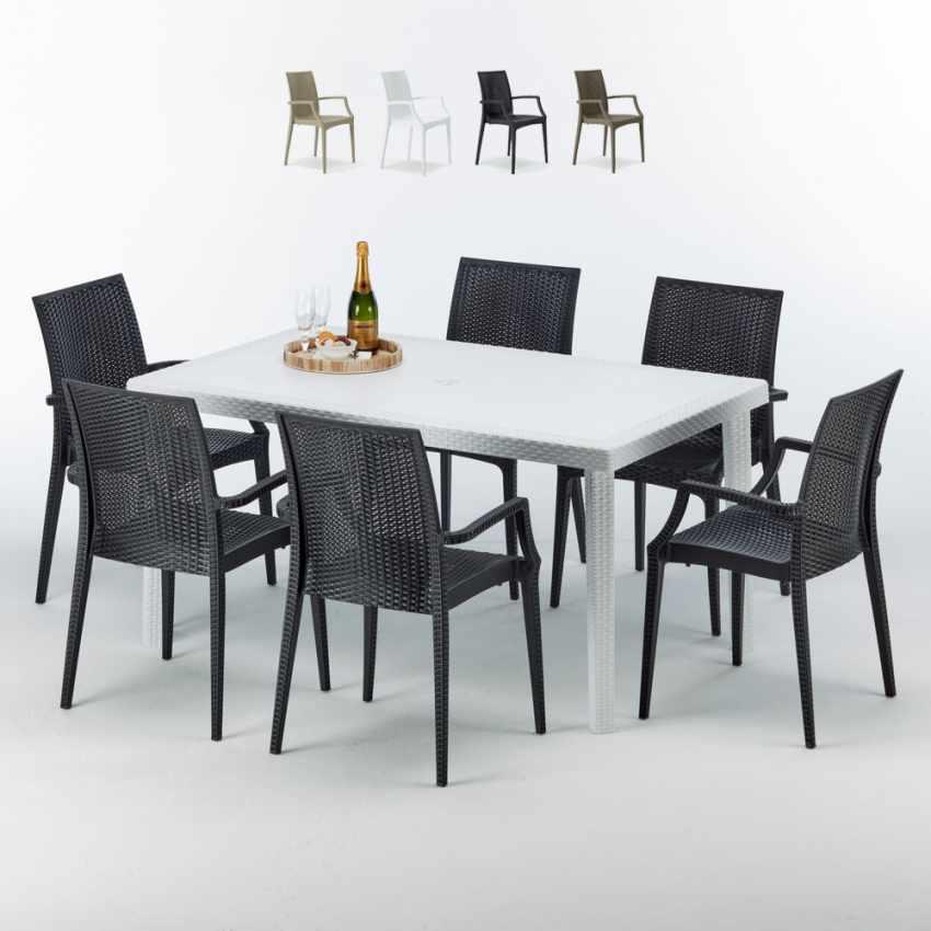 Weiß Rechteckig Tisch Und 6 Stühle Farbiges Polypropylen