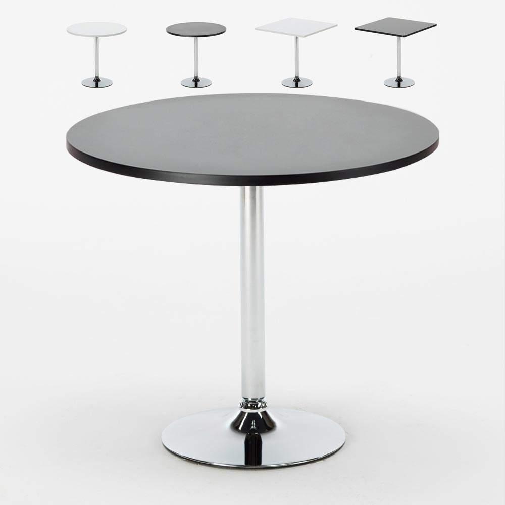 Details zu Kaffee Tisch rund und quadratisch Weiß Schwarz 38x38 BISTROT