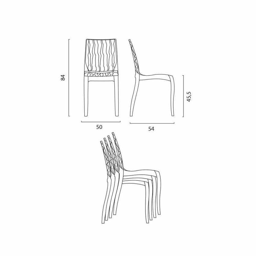 durchsichtiger polycarbonat stuhl stapelbar f r k che und caf s grand soleil dune. Black Bedroom Furniture Sets. Home Design Ideas