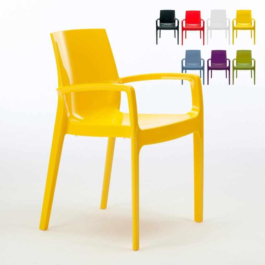 Stapelbarer Stuhl mit Armlehne aus Polypropylen für Küche, Haus und ...