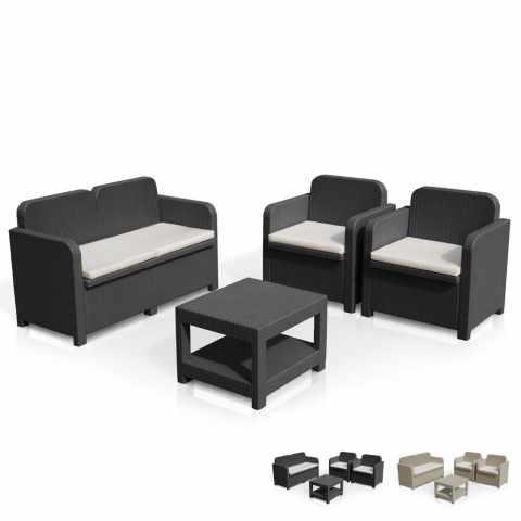 S7705   Loungeset Gartenmöbelset Polyrattan Tisch Sofa Sessel 4 Plätze  Grand Soleil SORRENTO   Bianco