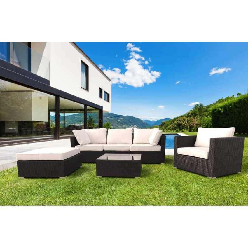 ... SM935RAT   Polyrattan Loungeset Gartenmöbel 4 Plätze Santa Monica    Giallo ...