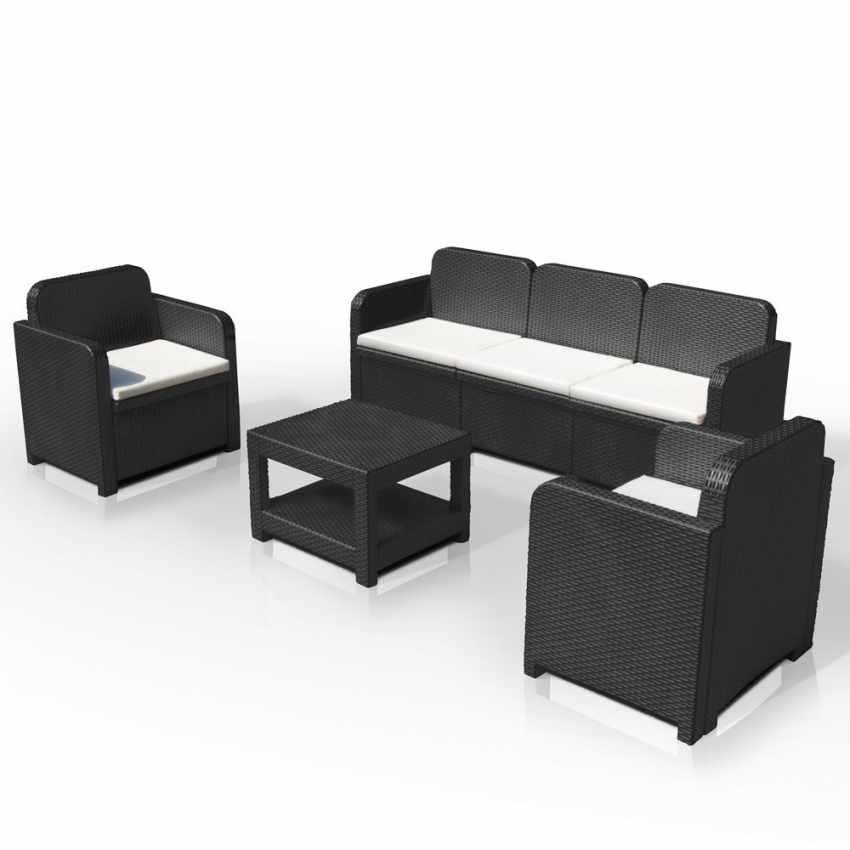 loungeset gartenm belset outdoor rattan tisch sofa sessel 5 pl zte grand soleil positano. Black Bedroom Furniture Sets. Home Design Ideas