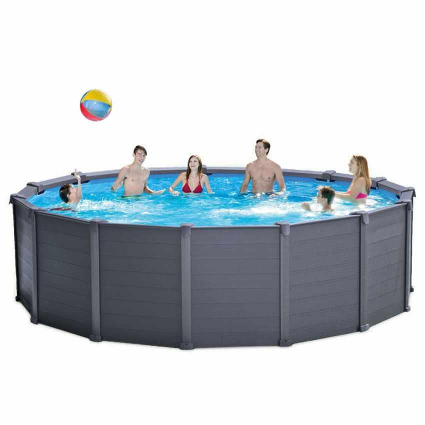 intex 26382 ex 28382 graphite panel pool aufstellpool rund 478x124. Black Bedroom Furniture Sets. Home Design Ideas