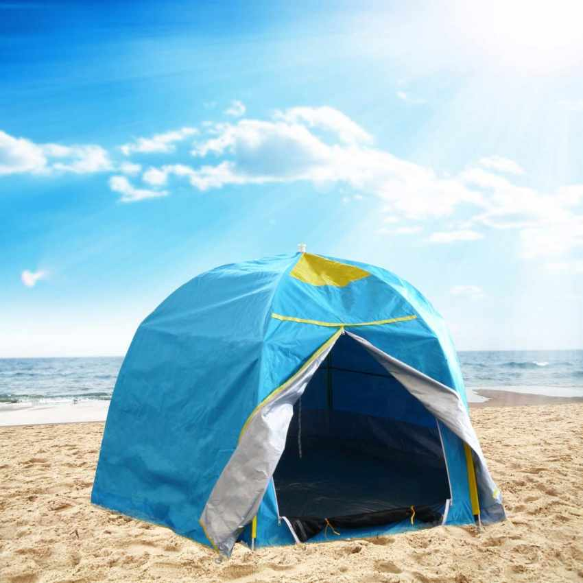 strandzelt sonnenschirm f r 2 personen meer camping uv schutz und windfest. Black Bedroom Furniture Sets. Home Design Ideas