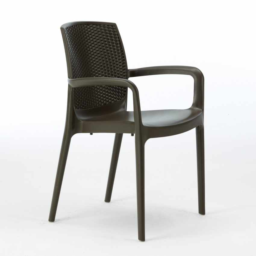 18er Set Polyrattan Stuhl mit Armlehne für Café Restaurant BOHEME Grand Soleil Sonderangebot - offerta