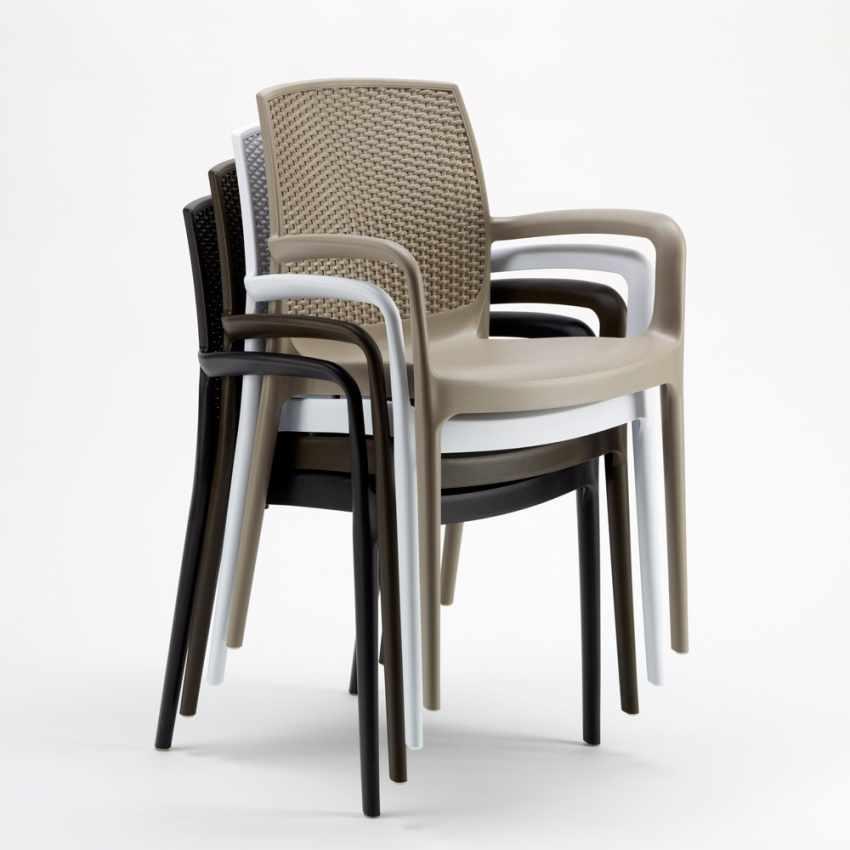 18er Set Polyrattan Stuhl mit Armlehne für Café Restaurant BOHEME Grand Soleil Sonderangebot - vendita
