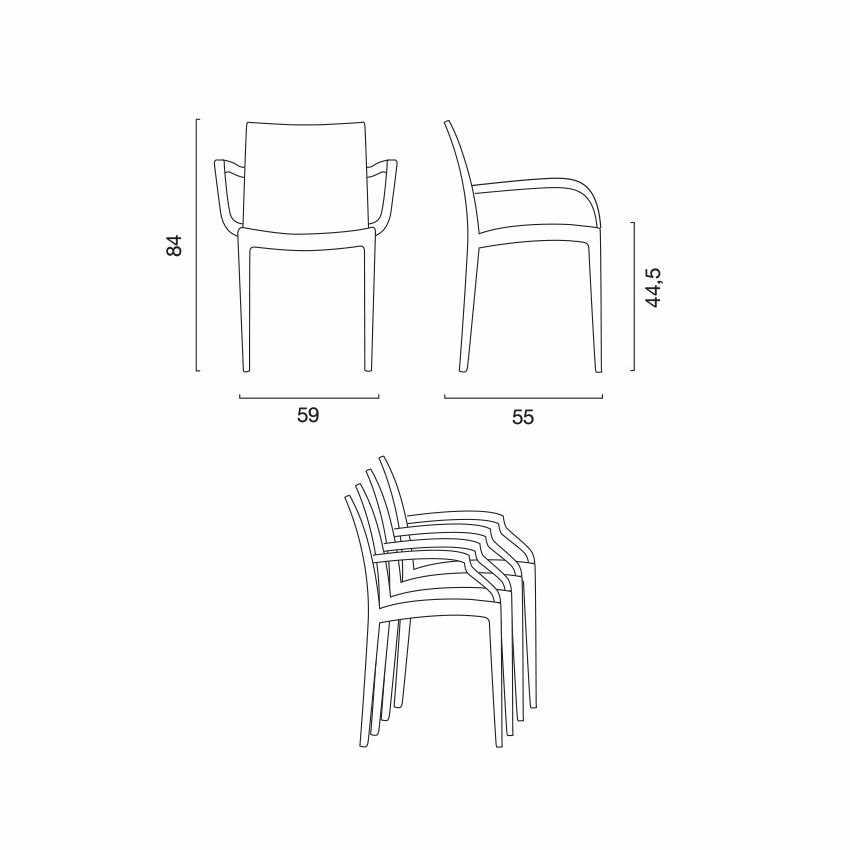 18er Set Polyrattan Stuhl mit Armlehne für Café Restaurant BOHEME ...
