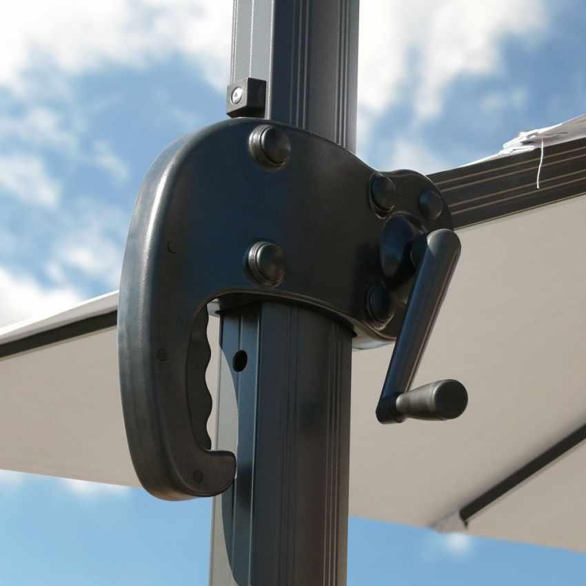 Ampelschirm 3m pendelschirm mit solar led licht alu paradise for Solar licht