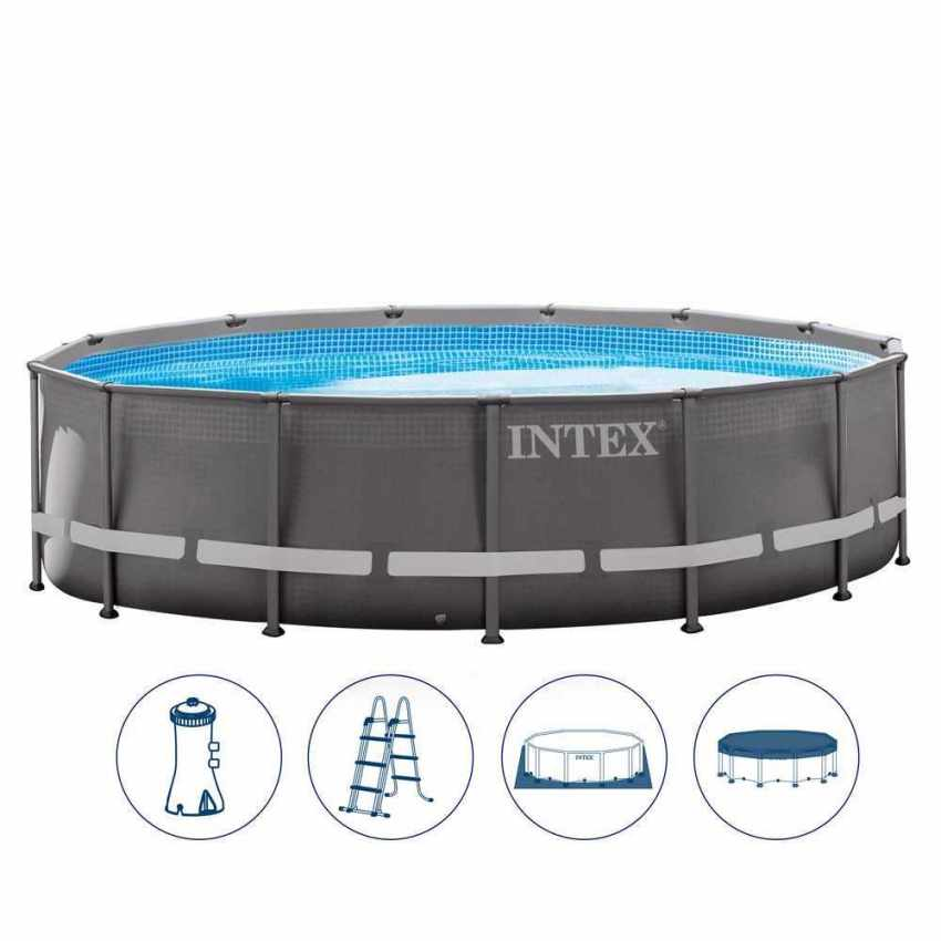intex 26310 ex 28310 ultra frame aufstellpool rund quick up 427x107cm. Black Bedroom Furniture Sets. Home Design Ideas
