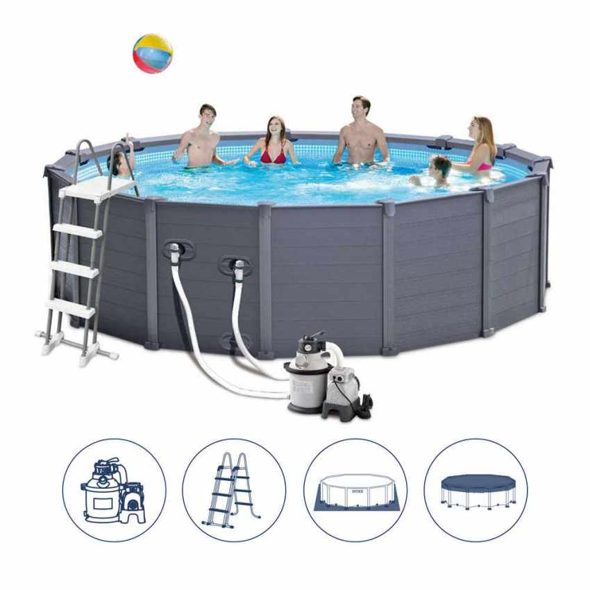 Intex 26382 ex 28382 graphite panel pool aufstellpool rund for Piscine graphite intex