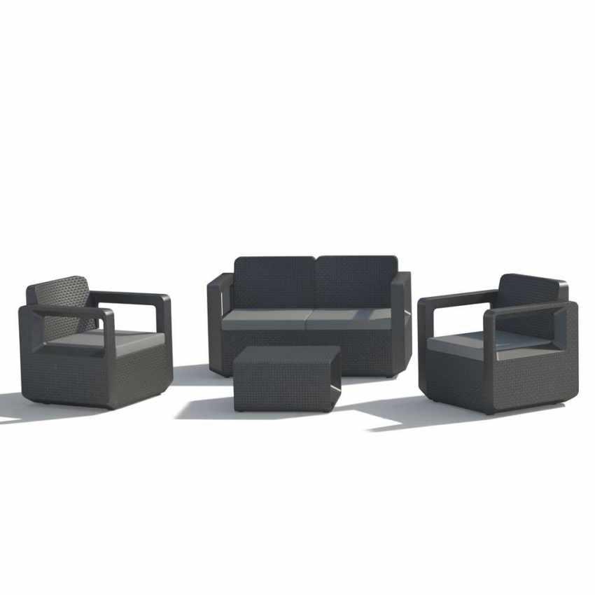 Polyrattan Gartensitzgruppe Loungeset Erhohte Ruckenlehne 2 Sessel