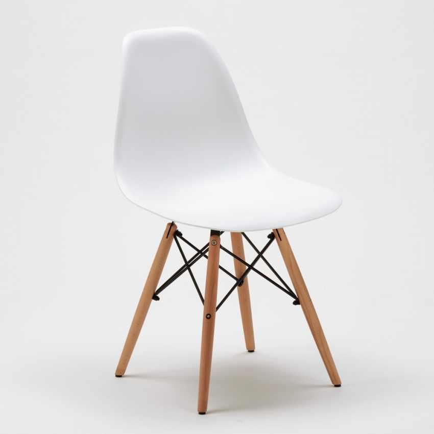 ... Designer Stuhl Aus Polypropylen Und Holz Für Küche Café Wartezimmer Und  Büro DSW WOODEN Eames Weiß ...